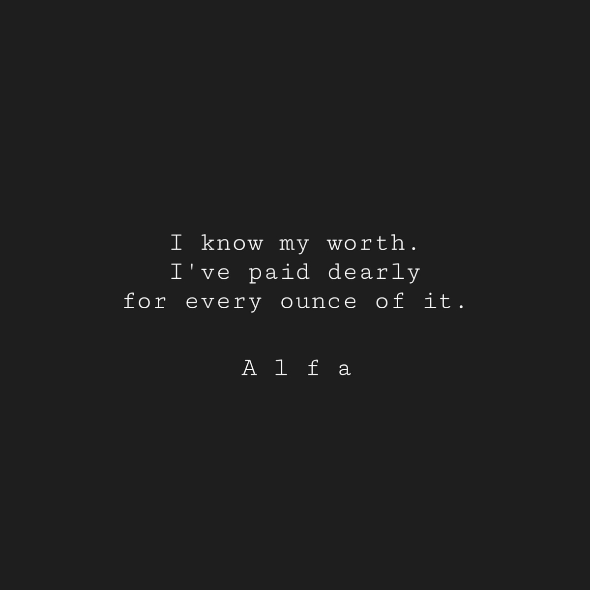 Self worth - Alfa