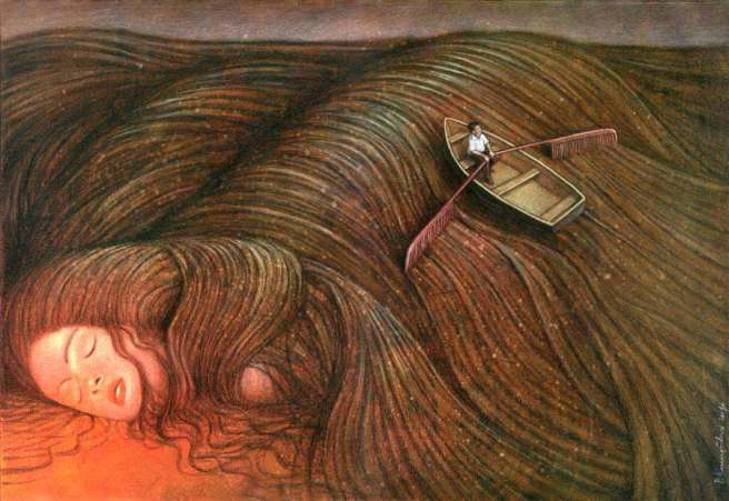 row-boat-painting-surrealism-woman-dreaming-row-boat-in-hair-beautiful-painting-art-row-boat-in-storm-painting